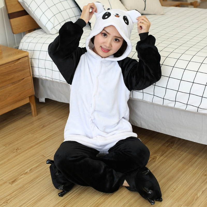 Kigurumi Women Unicorn Totoro Onesies Unisex Winter Bear Onesies Kids Nightwear Anime Costumes Adults Flannel Sleepwear Pajamas 6