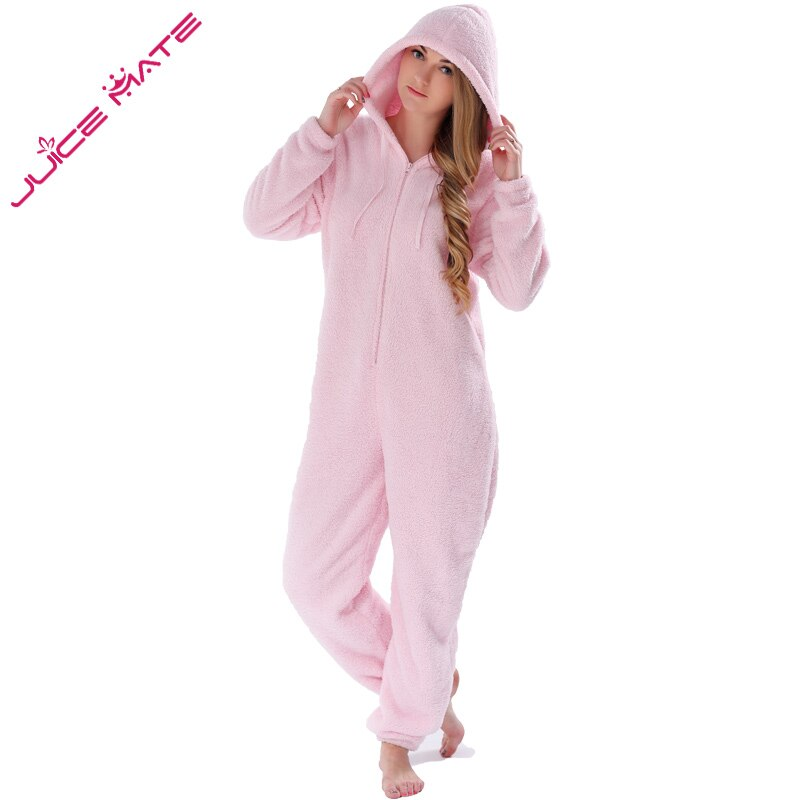 Winter Warm Pyjamas Women Onesies Fluffy Fleece Jumpsuits Sleepwear Overall Plus Size Hood Sets Pajamas Onesie For Women Adult 3