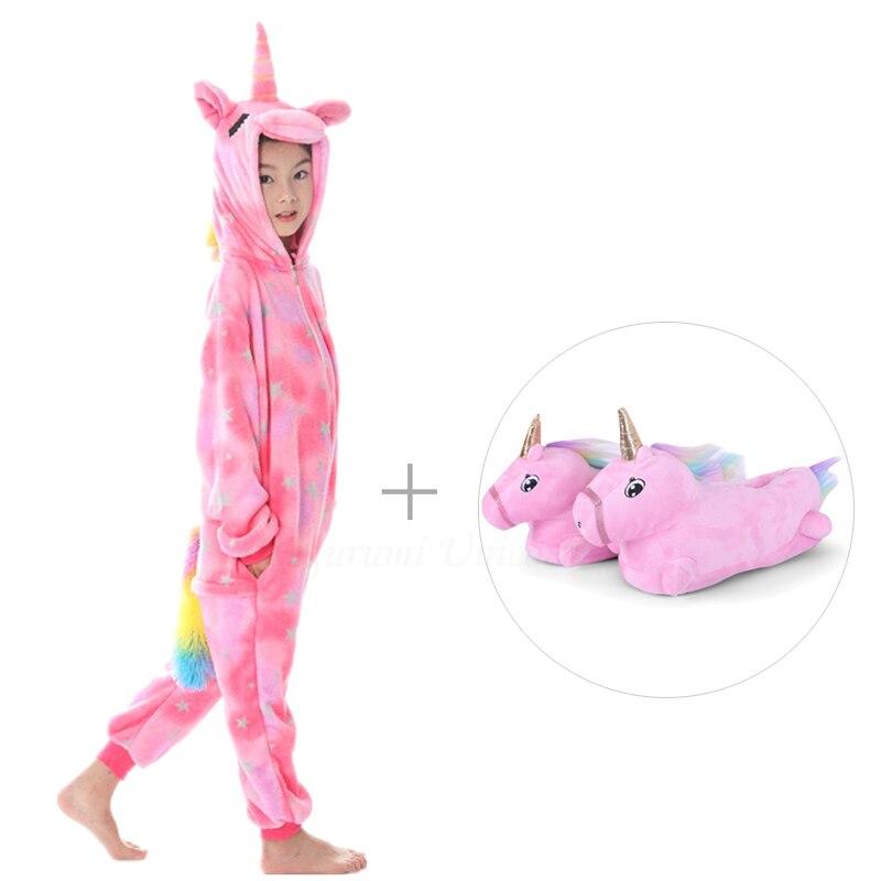 Kigurumi Unicorn Pajamas For Adults Cat Costume Kids Pijamas For Women Anime Animal Onesie Men Sleepwear Flannel Shoes Winter 3