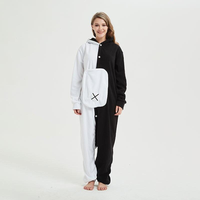 YESKIGU Monokuma Kigurumis Adult Onesie Anime Bear Jumpsuit Pajama Black White Animal Outfit Women Men Party Suit Winter Overall 5