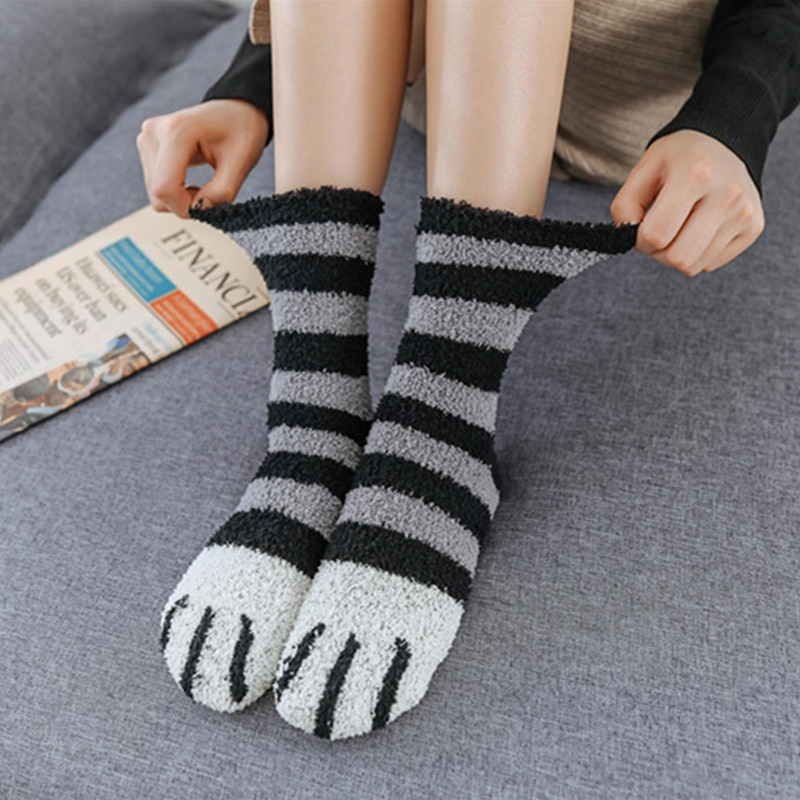 SVOKOR Cotton Socks Winter Funny Print Cat Paw Warm Socks Kawaii Cute Casual Happy Fashion Designer Socks For Men Women 2