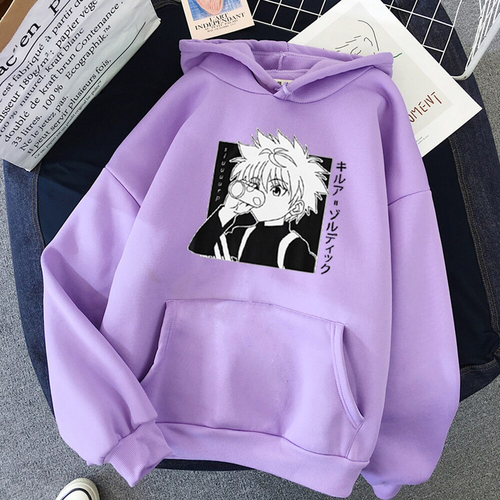 Kawaii Hunter X Hunter Hoodies Sweatshirt Killua Zoldyck Anime Manga Black Hoodies Bluzy Tops Clothes 4