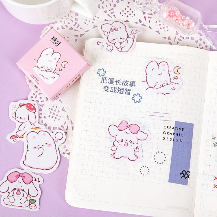 45 pcs/box Cute rabbit daily Kawaii Decoration Stickers Planner Scrapbooking Stationery Korean Diary Stickers 5