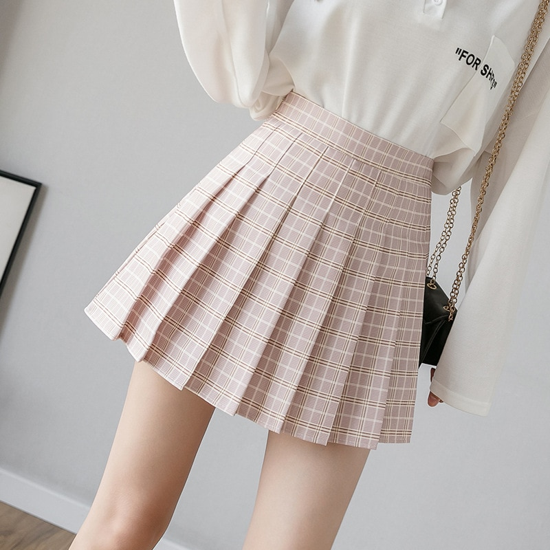 Summer Women Skirt Preppy Style Plaid Pleated Skirts for Girls Cute Japanese School Ladies Kawaii Mini Skirt Women 1