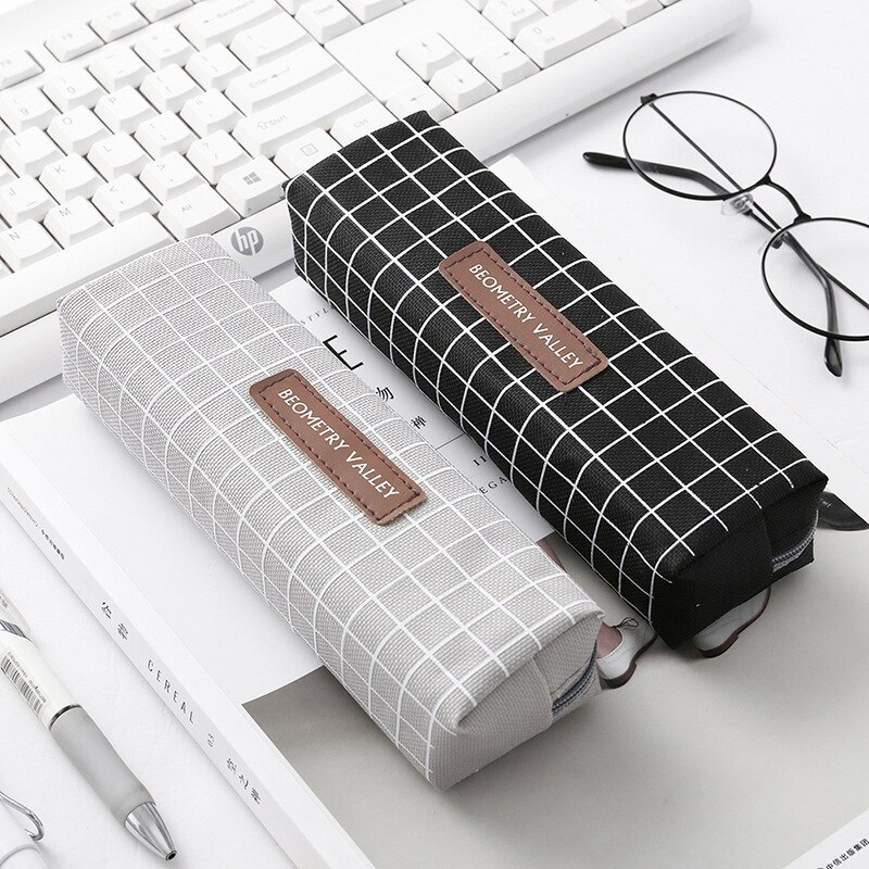 Cute Kawaii Canvas Pencil Case High Capacity Pen Bags Cute Letter Pencil Bags For Girls Gift School Supplies Korean Stationery 2