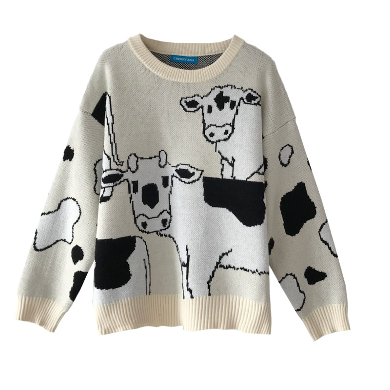 Vintage Casual Loose Lazy Cow Sweater Female Korean Harajuku Women's Sweaters Japanese Kawaii Cute Ulzzang Clothing For Women 5