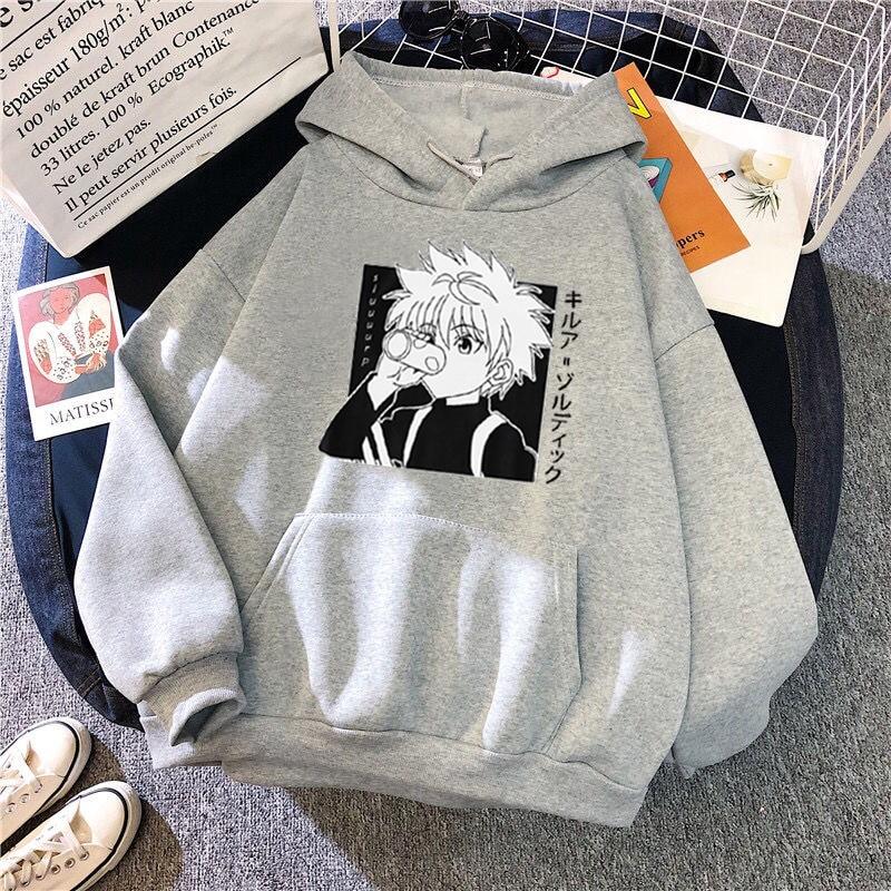 Kawaii Hunter X Hunter Hoodies Sweatshirt Killua Zoldyck Anime Manga Black Hoodies Bluzy Tops Clothes 6
