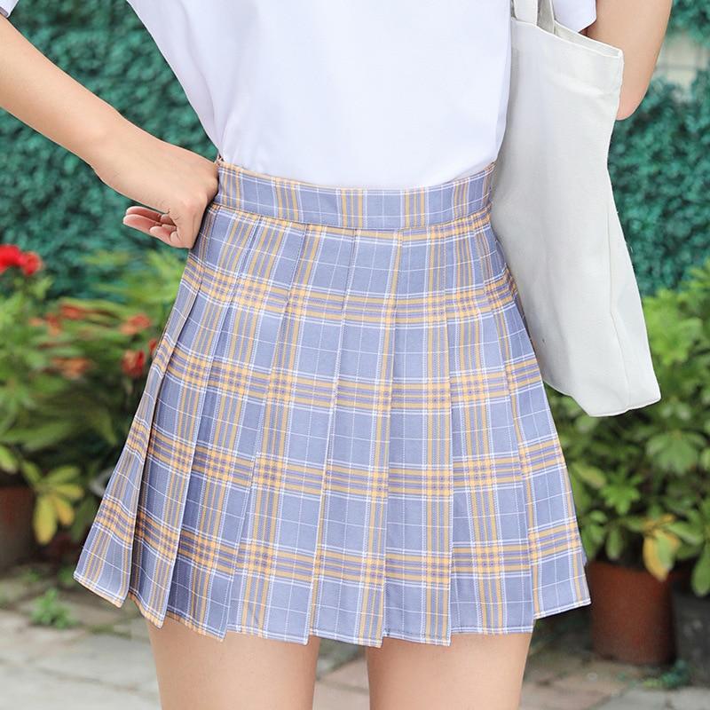 Summer Women Skirt Preppy Style Plaid Pleated Skirts for Girls Cute Japanese School Ladies Kawaii Mini Skirt Women 4