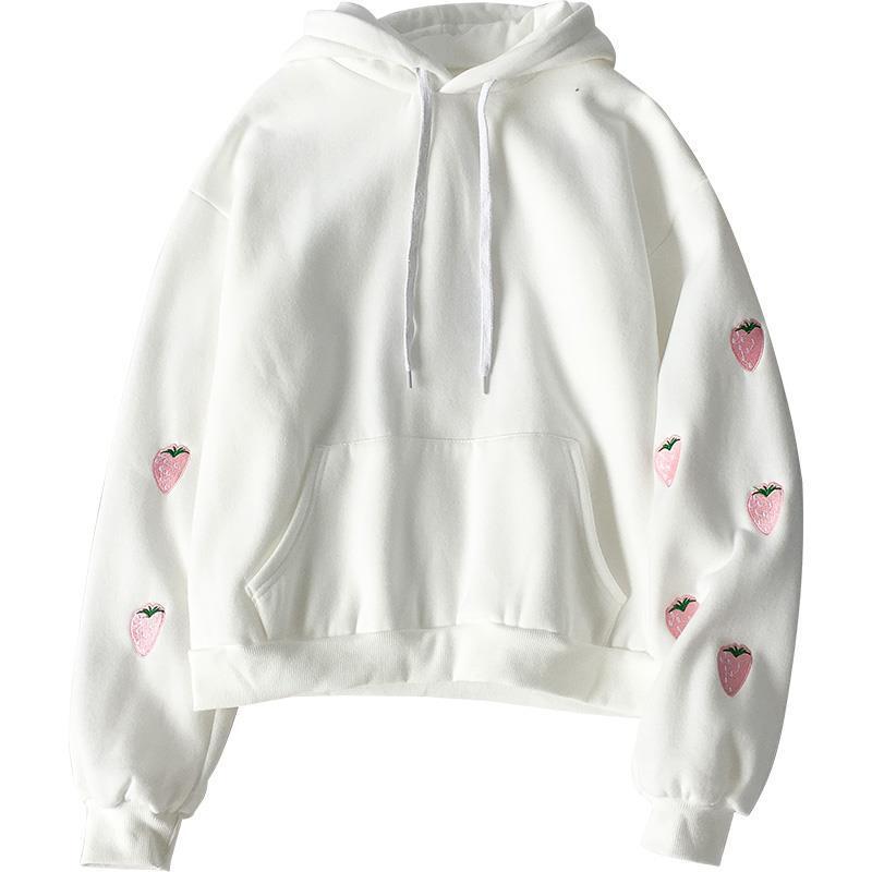 Harajuku Strawberry Embroidery Lavender Pink Sweatshirt Autumn Winter Women Kawaii Loose Long Sleeves Tops Oversized Hoodies XXL 3