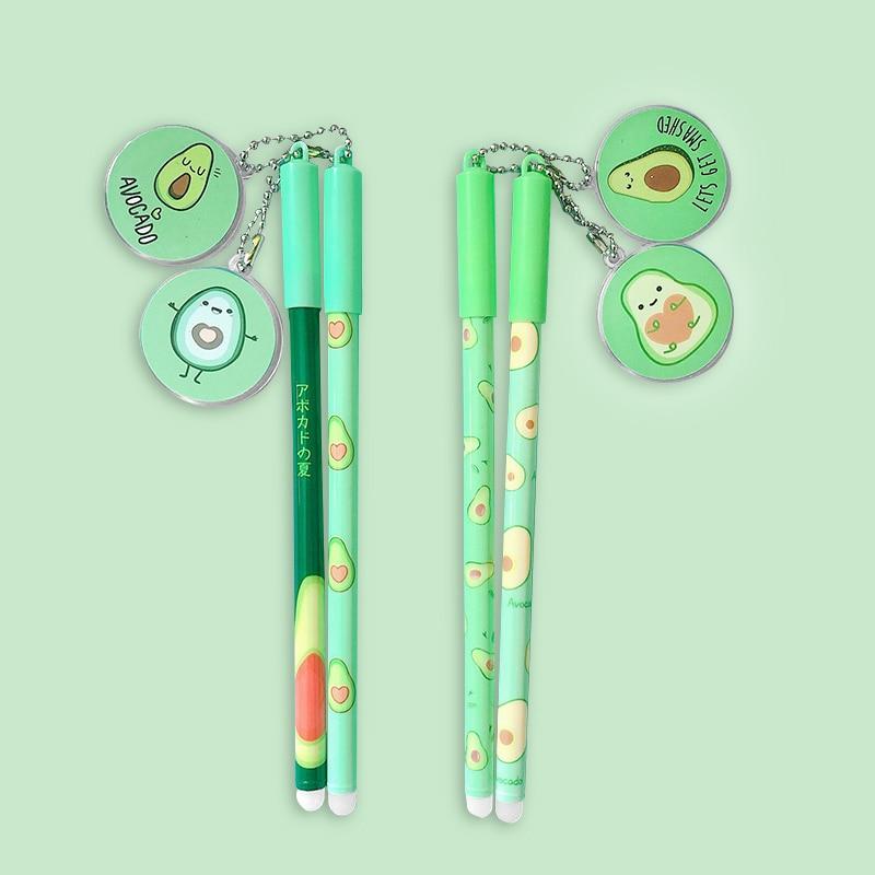 2 Pcs Kawaii Fruit Neutral Pen Cute Avocado Gel Pen 0.5mm Black Blue Ink Pen For Kids Gifts School Office Stationery Supplies 4
