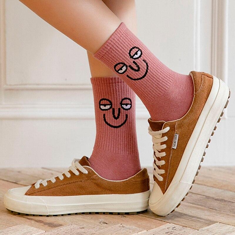 Unisex Surprise Mid Women Socks Harajuku Colorful Funny Socks Women 100 Cotton 1 Pair Kawaii Size 35-42 2