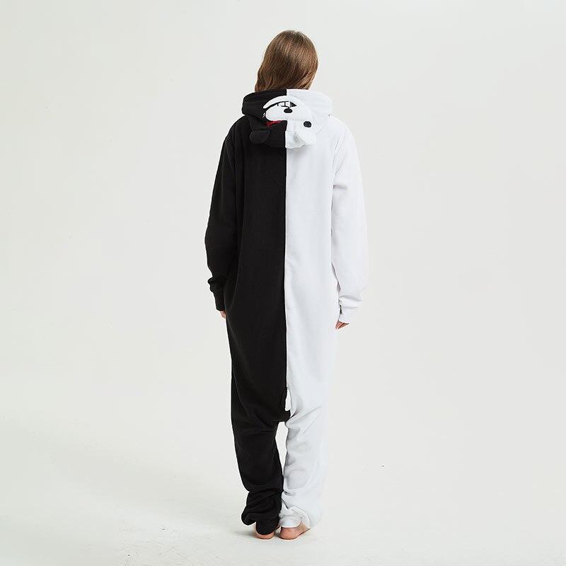 YESKIGU Monokuma Kigurumis Adult Onesie Anime Bear Jumpsuit Pajama Black White Animal Outfit Women Men Party Suit Winter Overall 3