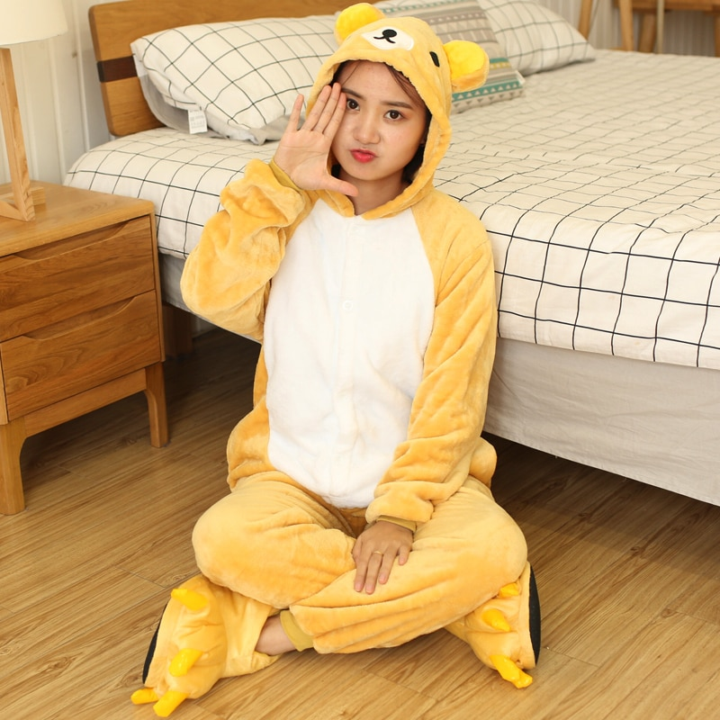 Kigurumi Women Unicorn Totoro Onesies Unisex Winter Bear Onesies Kids Nightwear Anime Costumes Adults Flannel Sleepwear Pajamas 4