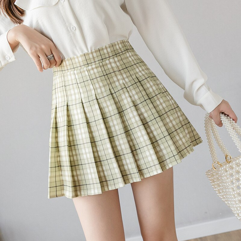 Summer Women Skirt Preppy Style Plaid Pleated Skirts for Girls Cute Japanese School Ladies Kawaii Mini Skirt Women 2
