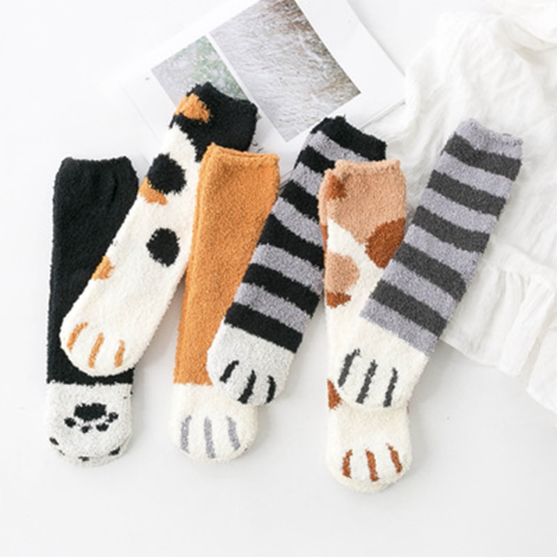 SVOKOR Cotton Socks Winter Funny Print Cat Paw Warm Socks Kawaii Cute Casual Happy Fashion Designer Socks For Men Women 1
