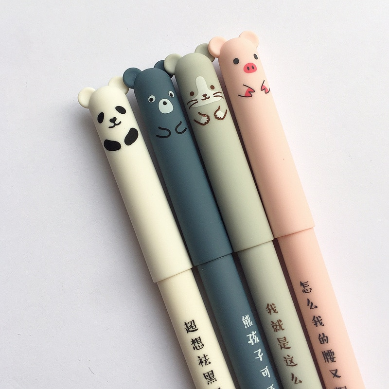 4 Pcs/set Kawaii Pig Bear Cat Mouse Erasable Gel Pen School Office Supplies Stationery Gift 0.35mm Blue Black Ink 1