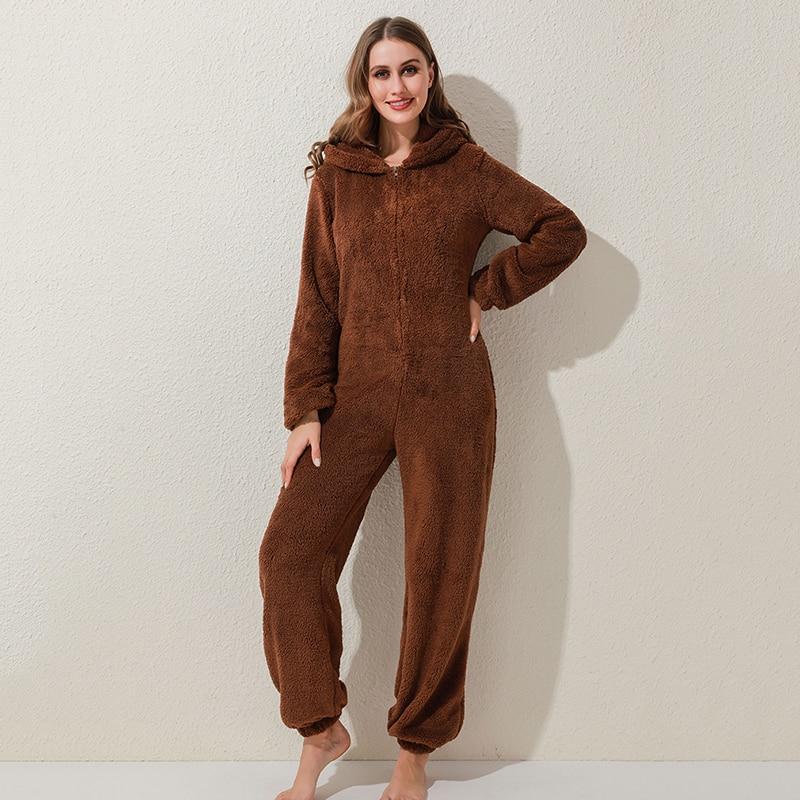 Winter Warm Pyjamas Women Onesies Fluffy Fleece Jumpsuits Sleepwear Overall Plus Size Hood Sets Pajamas For Women Adult 3