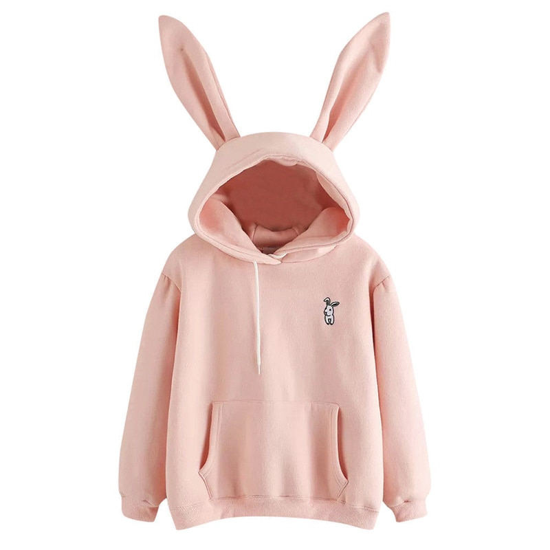 QRWR 2020 Autumn Winter Women Hoodies Kawaii Rabbit Ears Fashion Hoody Casual Solid Color Warm Sweatshirt Hoodies For Women 1