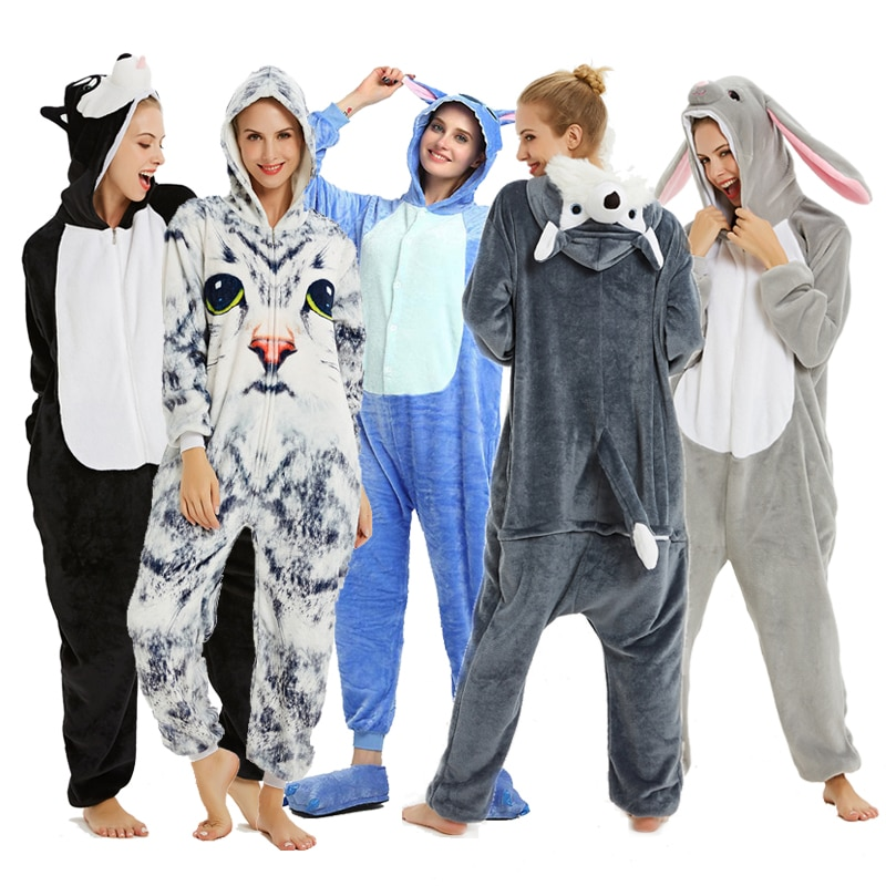 Adults Animal Pajamas Sets Cartoon Sleepwear Unicorn Onesies Stitch Kigurumi Unicornio Women Men Warm Flannel Hooded 1