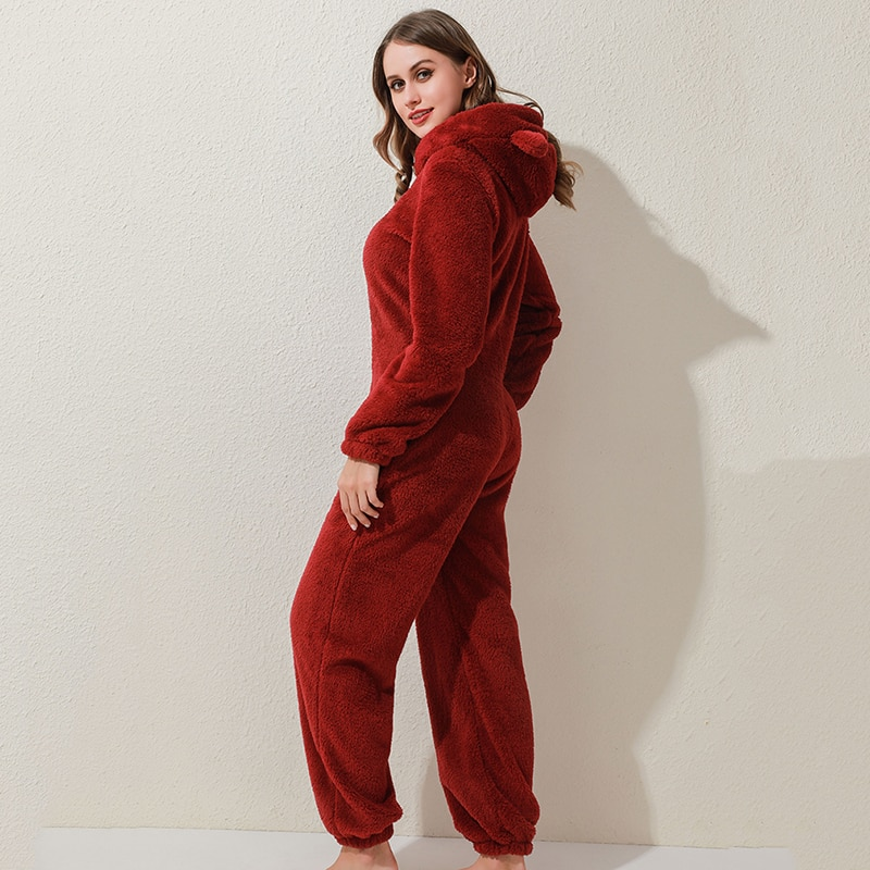 Winter Warm Pyjamas Women Onesies Fluffy Fleece Jumpsuits Sleepwear Overall Plus Size Hood Sets Pajamas For Women Adult 6