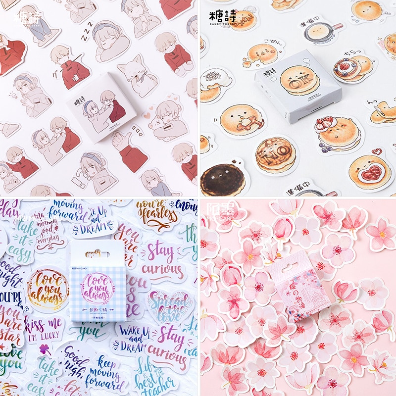 45 pcs/Box Various Stickers Cute Kawaii Planner Journal Diary  Scrapbooking Paper Stickers Stationery 2