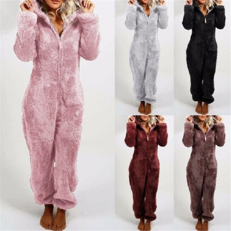 Winter Warm Pyjamas Women Onesies Fluffy Fleece Jumpsuits Sleepwear Overall Plus Size Hood Sets Pajamas For Women Adult 1