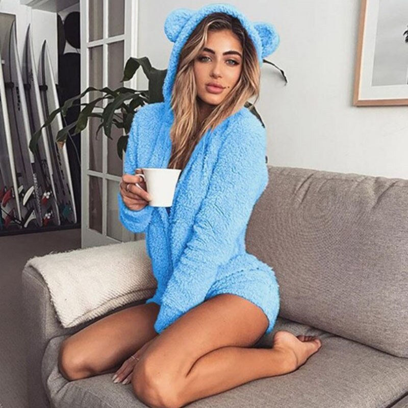 Warm Pajama for Adults Hooded Rabbit Ear Fleece Onesie Women One-piece Animal Jumpsuit Pajamas for Adults 6