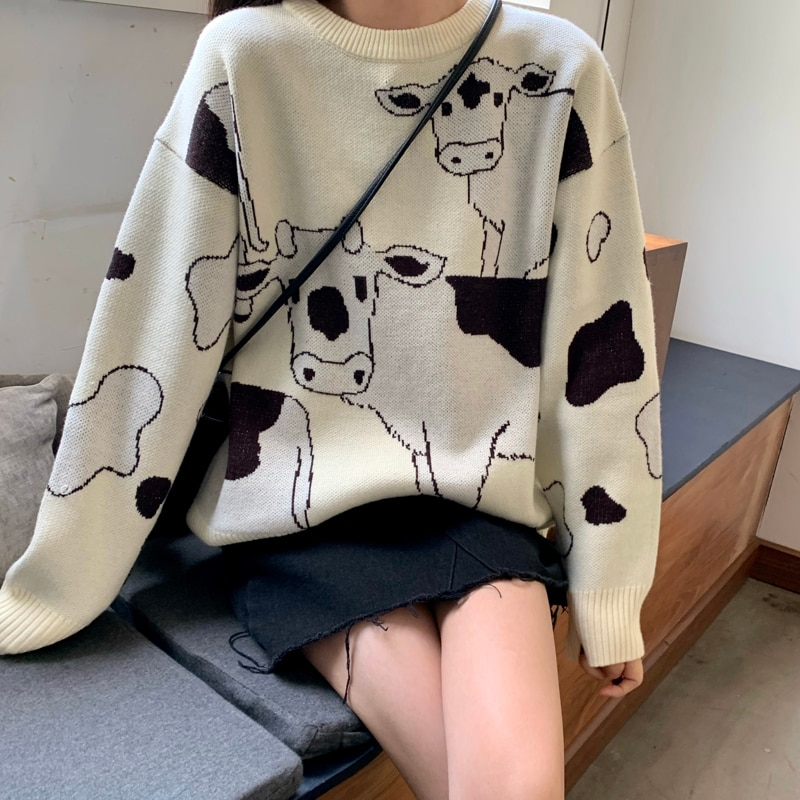 Vintage Casual Loose Lazy Cow Sweater Female Korean Harajuku Women's Sweaters Japanese Kawaii Cute Ulzzang Clothing For Women 1
