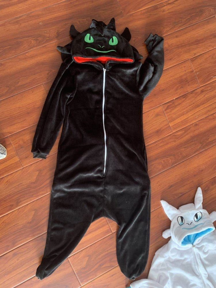 Toothless Dragon Kigurumis Unicorn Black Onesie Adult Unisex Flannel Pajama Anime Train Your Night Fury Sleepwear Home Zipper 3