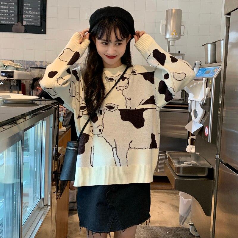 Vintage Casual Loose Lazy Cow Sweater Female Korean Harajuku Women's Sweaters Japanese Kawaii Cute Ulzzang Clothing For Women 4