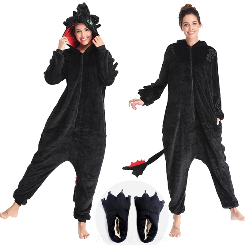 Toothless Dragon Kigurumis Unicorn Black Onesie Adult Unisex Flannel Pajama Anime Train Your Night Fury Sleepwear Home Zipper 1
