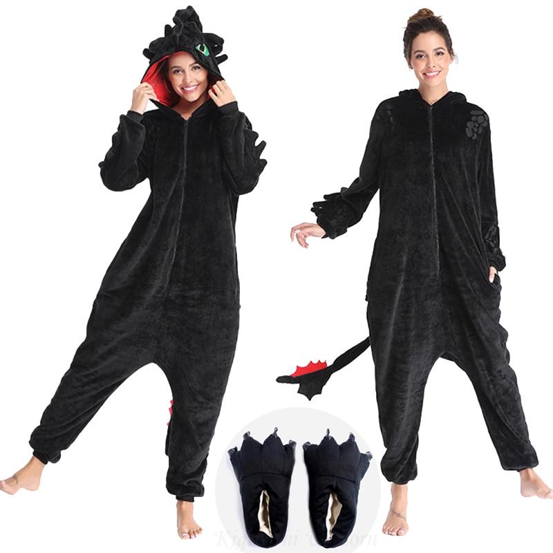 Toothless Dragon Kigurumis Unicorn Black Onesie Adult Unisex Flannel Pajama Anime Train Your Night Fury Sleepwear Home Zipper 1