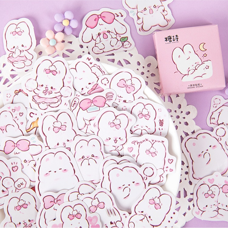 45 pcs/box Cute rabbit daily Kawaii Decoration Stickers Planner Scrapbooking Stationery Korean Diary Stickers 1