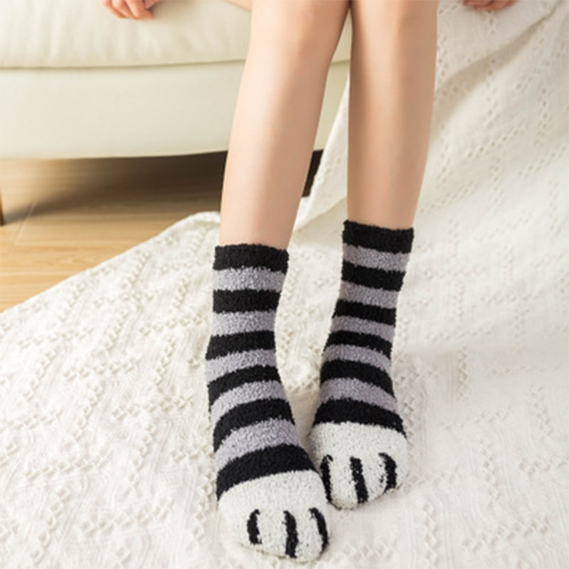 SVOKOR Cotton Socks Winter Funny Print Cat Paw Warm Socks Kawaii Cute Casual Happy Fashion Designer Socks For Men Women 6