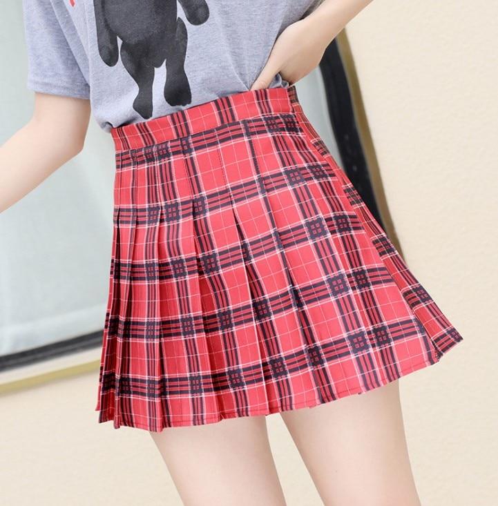Women Pleat Skirt Harajuku Preppy Style Plaid Skirts Mini Cute Japanese School Uniforms Ladies Jupe Kawaii Skirt Saia Faldas 18