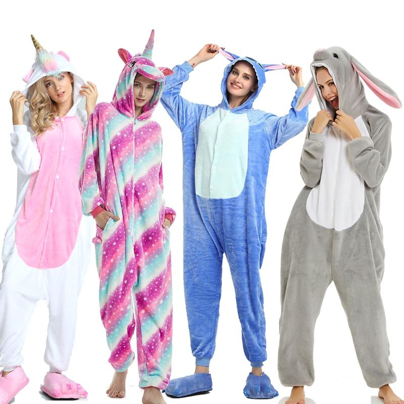 Adults Animal Pajamas Sets Cartoon Sleepwear Unicorn Onesies Stitch Kigurumi Unicornio Women Men Warm Flannel Hooded 2
