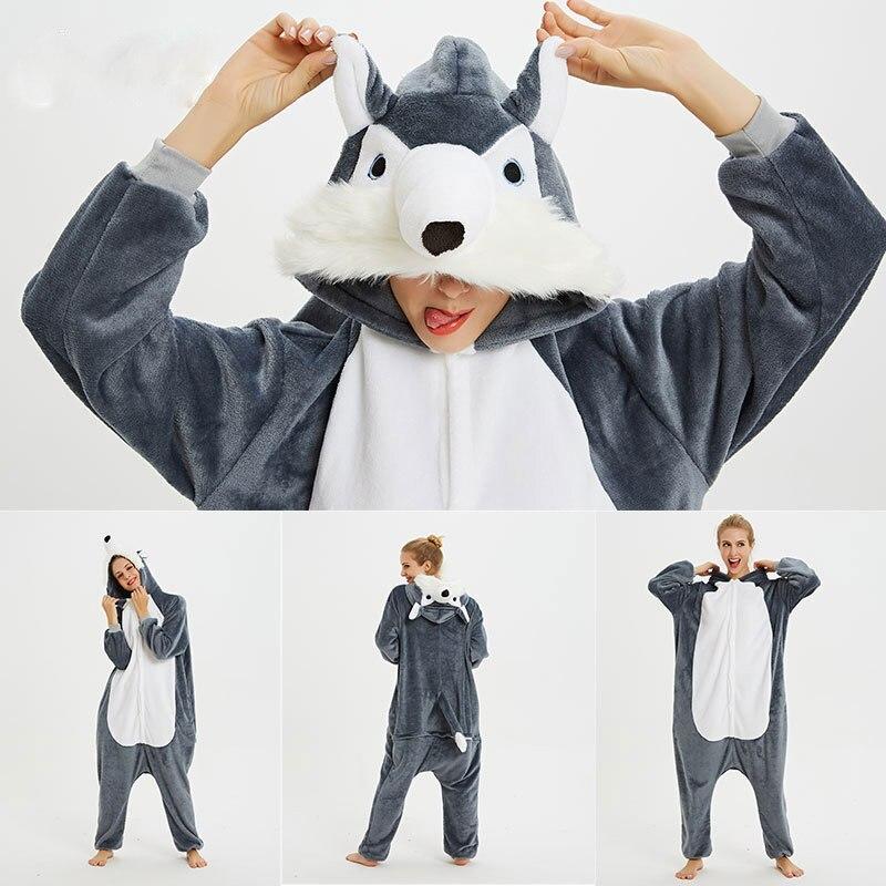 Adults Animal Pajamas Sets Cartoon Sleepwear Unicorn Onesies Stitch Kigurumi Unicornio Women Men Warm Flannel Hooded 4