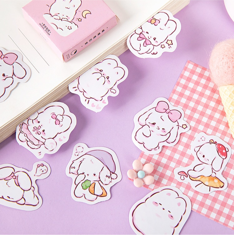 45 pcs/box Cute rabbit daily Kawaii Decoration Stickers Planner Scrapbooking Stationery Korean Diary Stickers 2