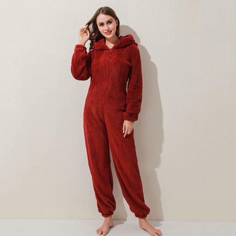 Winter Warm Pyjamas Women Onesies Fluffy Fleece Jumpsuits Sleepwear Overall Plus Size Hood Sets Pajamas For Women Adult 5