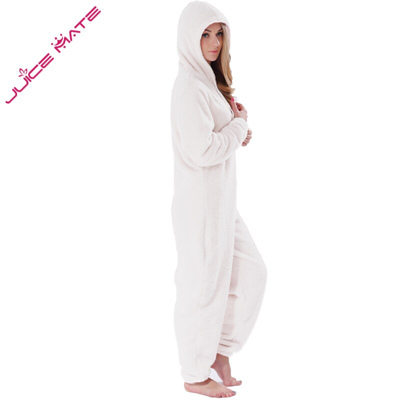 Winter Warm Pyjamas Women Onesies Fluffy Fleece Jumpsuits Sleepwear Overall Plus Size Hood Sets Pajamas Onesie For Women Adult 5