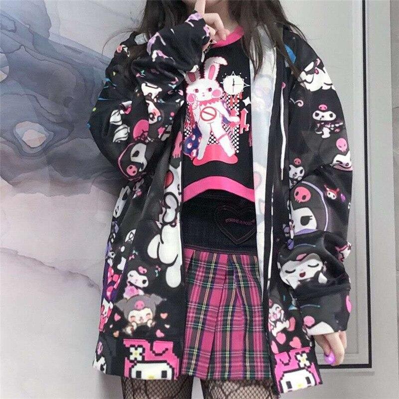 Autumn Thin Hoodies Cute Kpop Women Men Harajuku Sweatshirts Japan Hip Hop Hoodie Pocket Casual Pullovers Tops Kawaii Hoodies 6