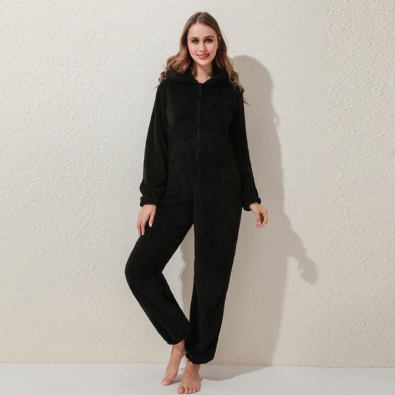 Winter Warm Pyjamas Women Onesies Fluffy Fleece Jumpsuits Sleepwear Overall Plus Size Hood Sets Pajamas For Women Adult 4
