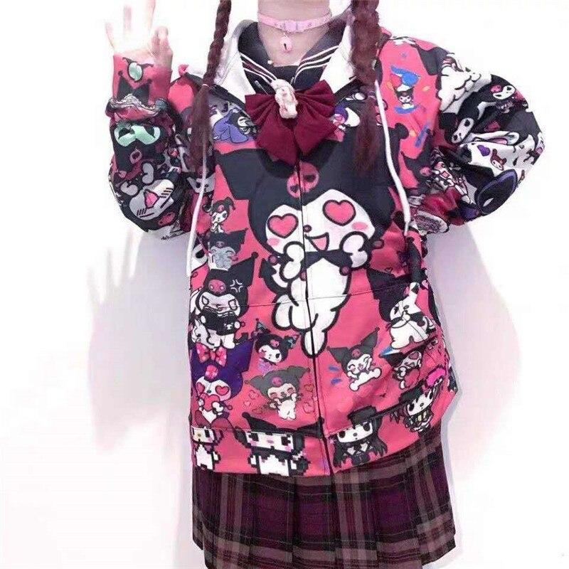 Autumn Thin Hoodies Cute Kpop Women Men Harajuku Sweatshirts Japan Hip Hop Hoodie Pocket Casual Pullovers Tops Kawaii Hoodies 3