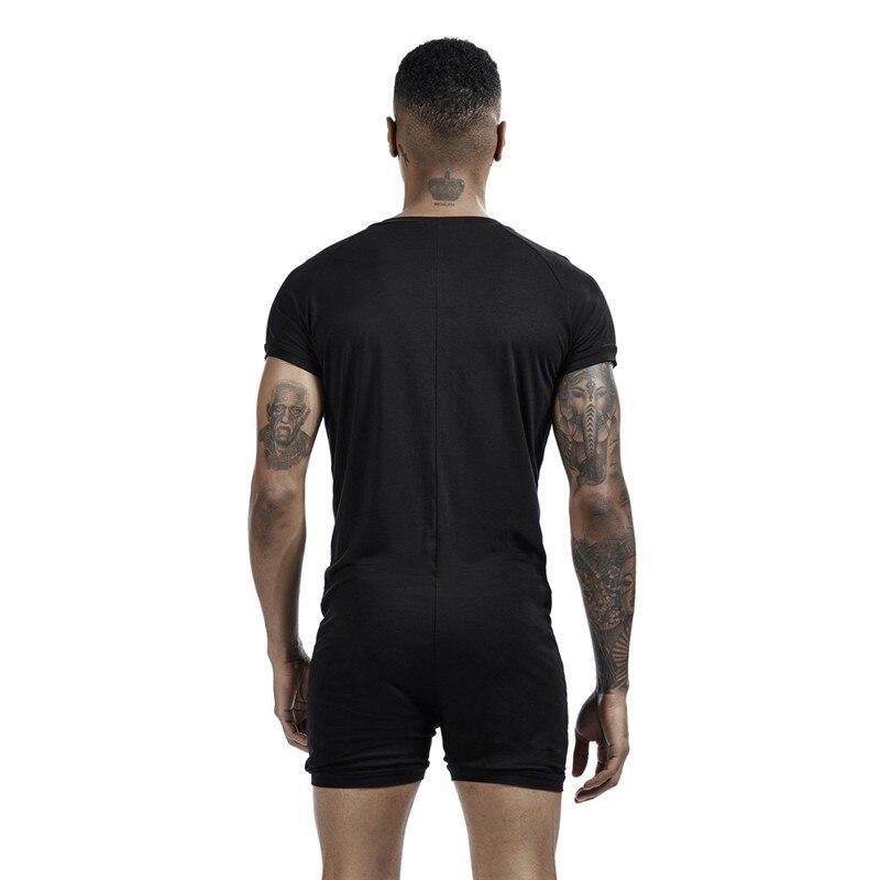 Men's Siamese Pajamas Onesies Home Clothes Super-elastic Comfortable Snap Button Jumpsuit Men Sleepwear Solid Color T-Shirts 6