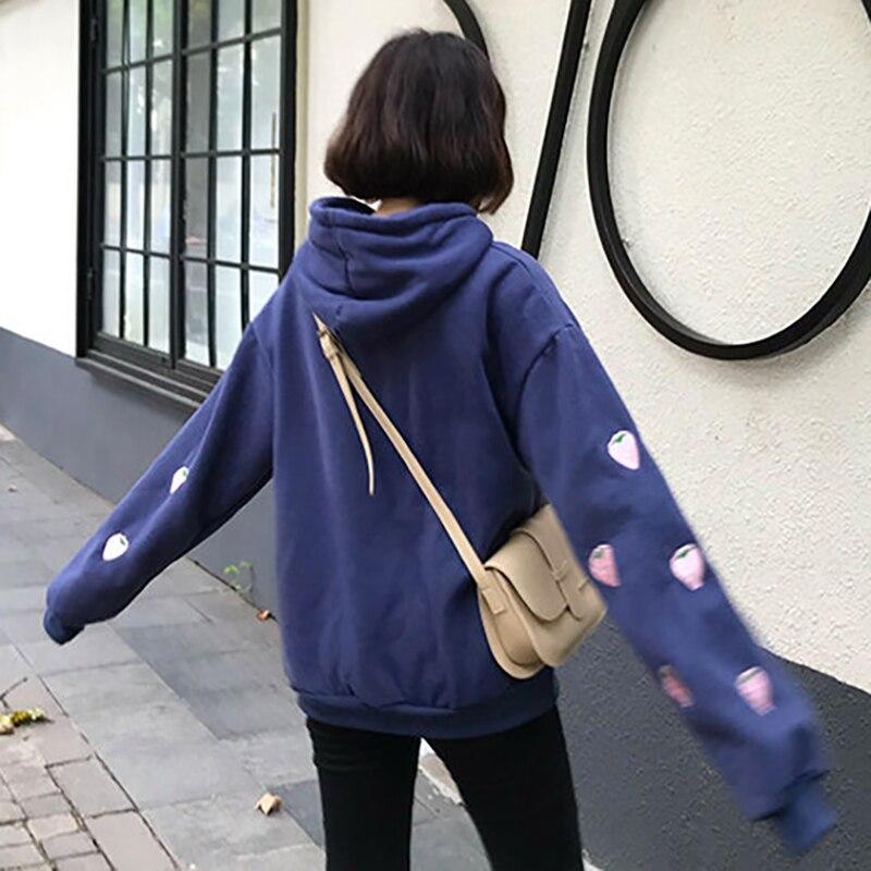 Harajuku Strawberry Embroidery Lavender Pink Sweatshirt Autumn Winter Women Kawaii Loose Long Sleeves Tops Oversized Hoodies XXL 2