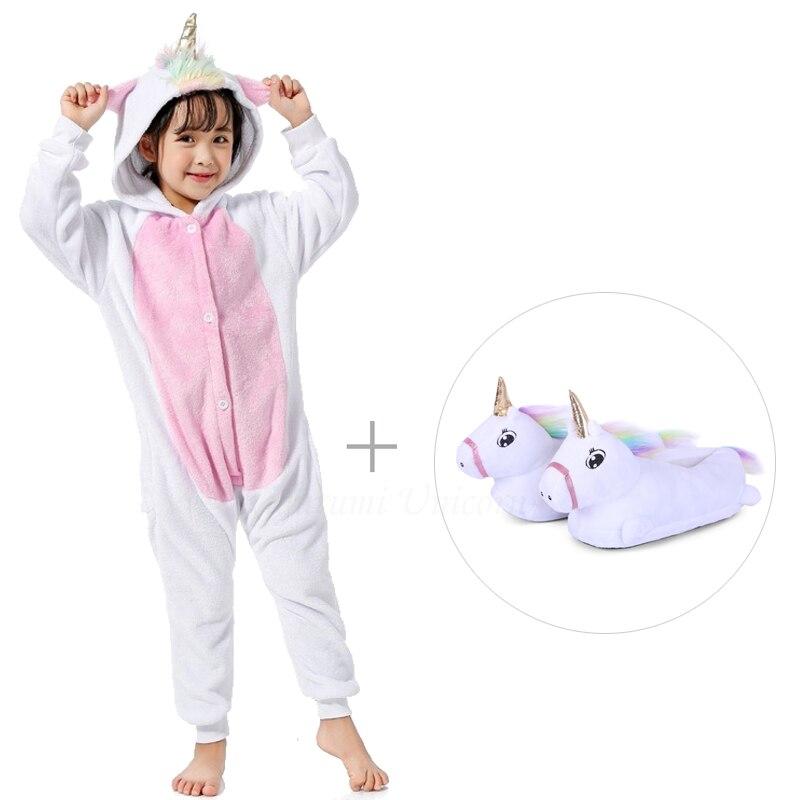 Kigurumi Unicorn Pajamas For Adults Cat Costume Kids Pijamas For Women Anime Animal Onesie Men Sleepwear Flannel Shoes Winter 5