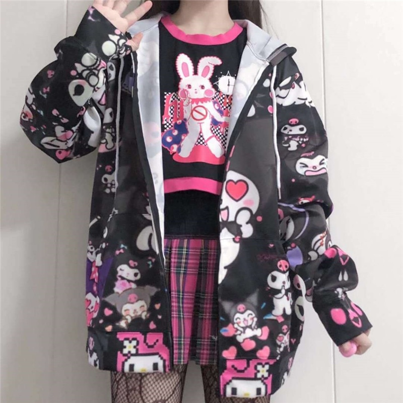 Autumn Thin Hoodies Cute Kpop Women Men Harajuku Sweatshirts Japan Hip Hop Hoodie Pocket Casual Pullovers Tops Kawaii Hoodies 1