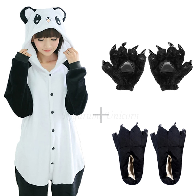 Kigurumi Unicorn For Adults Panda Costume Kids Pajamas For Women Animal Onesie Men Sleepwear Flannel Pijamas Shoes tiger bear 1