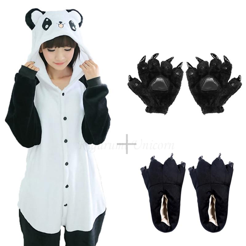 Kigurumi Unicorn For Adults Panda Costume Kids Pajamas For Women Animal Onesie Men Sleepwear Flannel Pijamas Shoes tiger bear 1