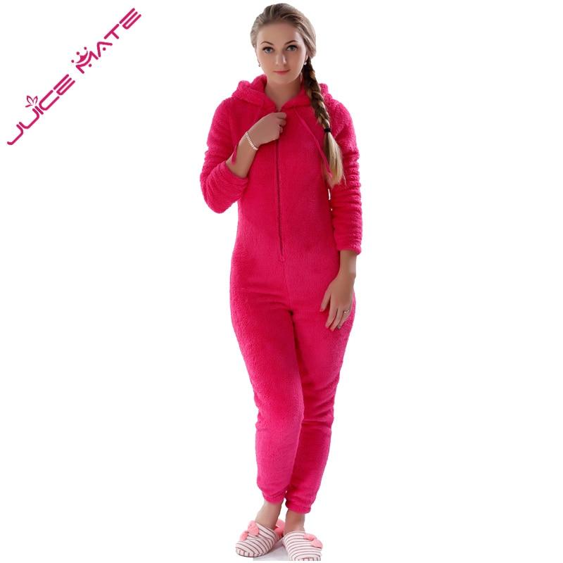Winter Warm Pyjamas Women Onesies Fluffy Fleece Jumpsuits Sleepwear Overall Plus Size Hood Sets Pajamas Onesie For Women Adult 2